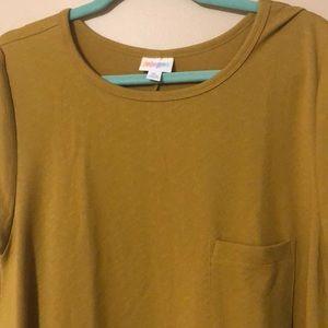 XL Mustard Jacquard Dress - short sleeved